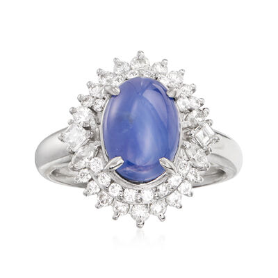 C. 1980 Vintage 1.62 Carat Star Sapphire and .87 ct. t.w. Diamond Ring in Platinum