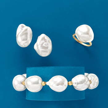 """22x18mm Cultured Baroque Pearl Earrings in 14kt Yellow Gold. 1/2"""""""