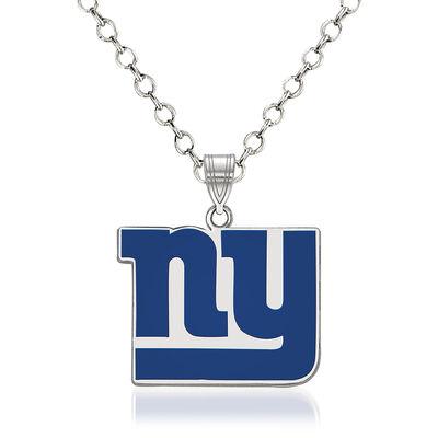 "Sterling Silver NFL New York Giants Enamel Pendant Necklace. 18"", , default"