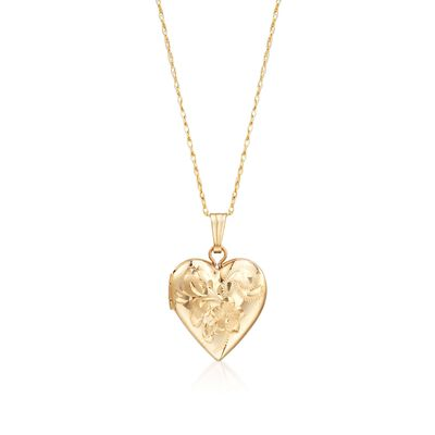 Child's 14kt Yellow Gold Heart Locket Necklace with Floral Engraving, , default