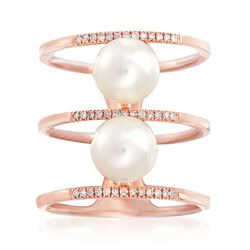 7-7.5mm Cultured Pearl and .13 ct. t.w. Diamond Three-Row Ring in 14kt Rose Gold, , default