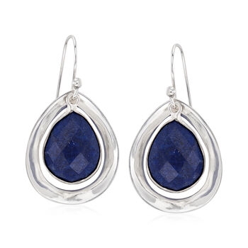 Blue Lapis Drop Earrings in Sterling Silver , , default