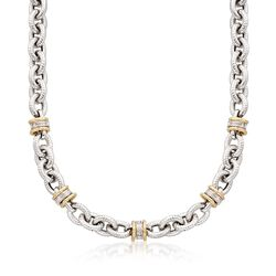 "Italian .20 ct. t.w. Diamond Station Link Necklace in Sterling Silver and 14kt Gold. 18"", , default"