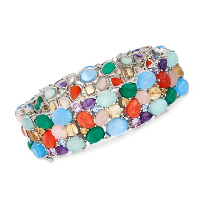 12.30 ct. t.w. Multi-Stone Bracelet in Sterling Silver, , default