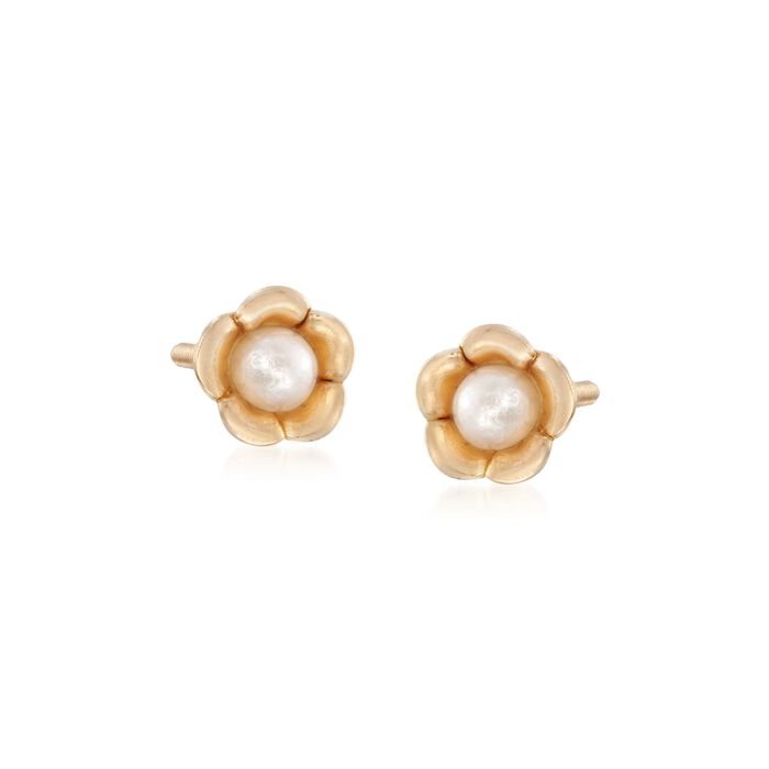Child's 2-2.5mm Cultured Pearl Flower Stud Earrings in 14kt Yellow Gold, , default