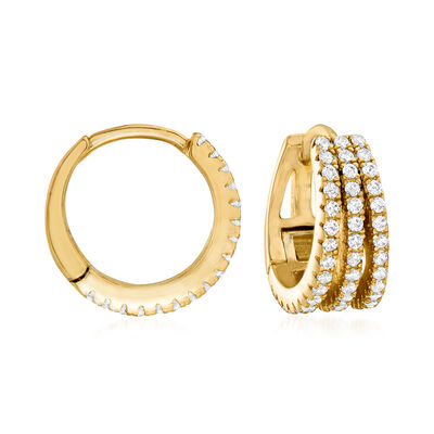 .50 ct. t.w. CZ Multi-Row Hoop Earrings in 18kt Gold Over Sterling
