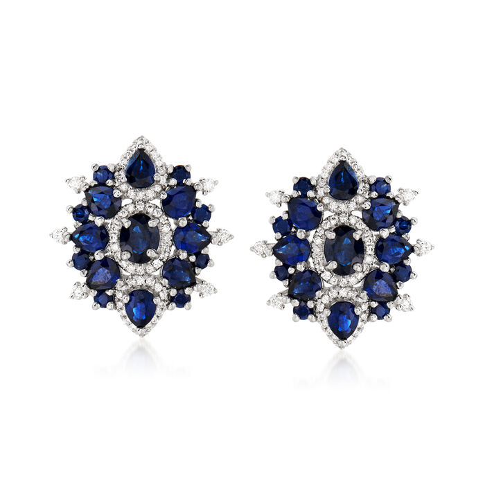 3.60 ct. t.w. Sapphire and .41 ct. t.w. Diamond Earrings in 14kt White Gold
