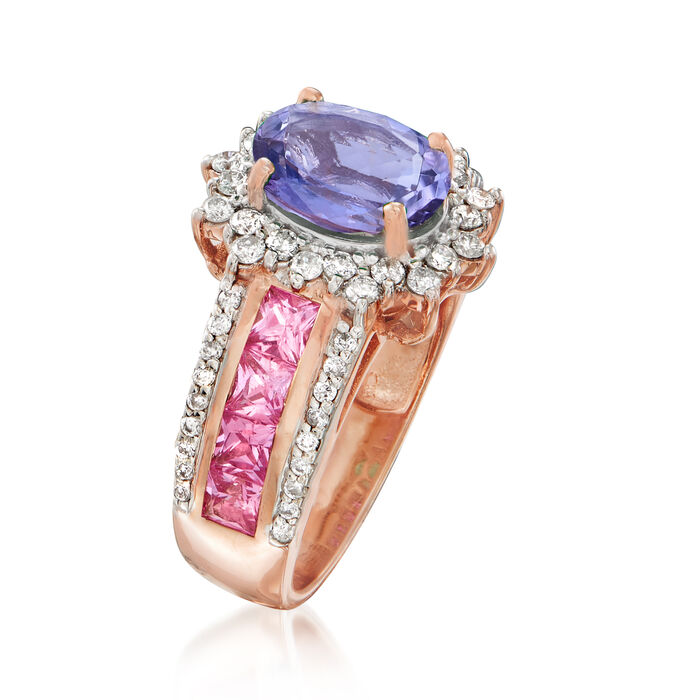1.80 Carat Tanzanite, 1.20 ct. t.w. Pink Sapphire and .50 ct. t.w. Diamond Ring in 14kt Rose Gold