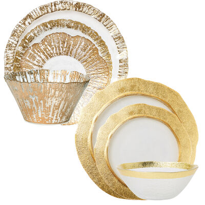 "Vietri ""Rufolo"" Gold Glass Dinnerware"