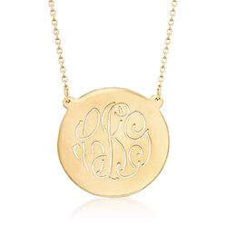"14kt Gold Over Sterling Silver Cutout Monogram Circle Necklace. 19"", , default"