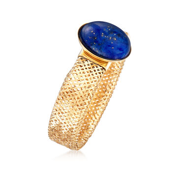 Italian 5x7mm Oval Lapis Mesh Stretch Ring in 14kt Yellow Gold, , default