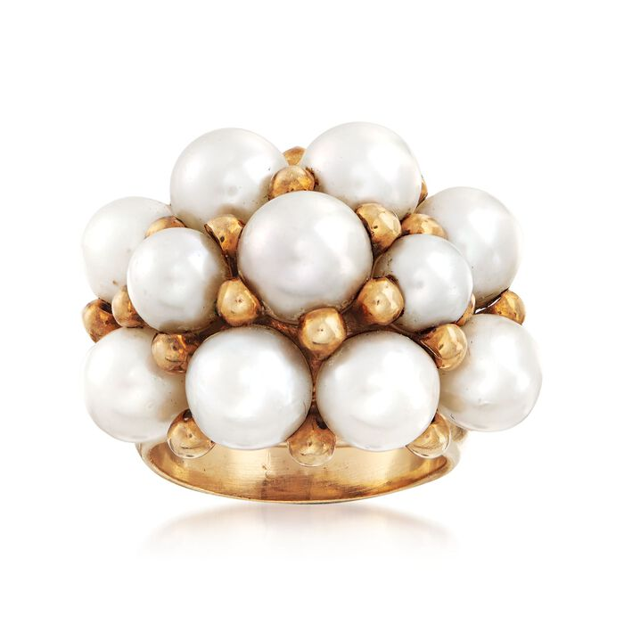 C. 1960 Vintage 4mm Cultured Pearl Cluster Ring in 14kt Yellow Gold. Size 7.5