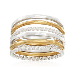 Sterling Silver and 14kt Yellow Gold Over Sterling Silver Set: Six Stackable Rings, , default
