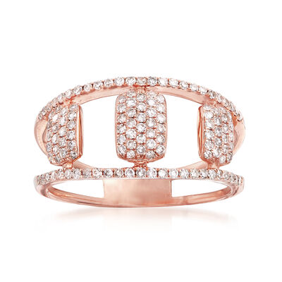 .45 ct. t.w. Pave Diamond Openwork Ring in 14kt Rose Gold