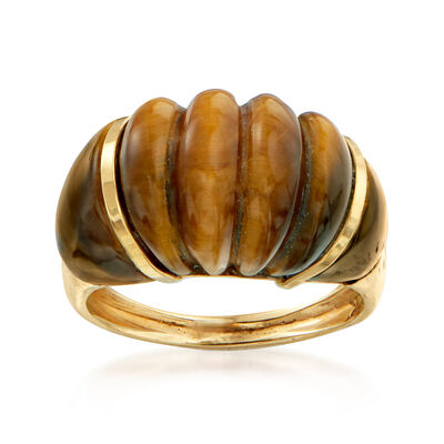 C. 1970 Vintage Tiger's Eye Ring in 14kt Yellow Gold, , default