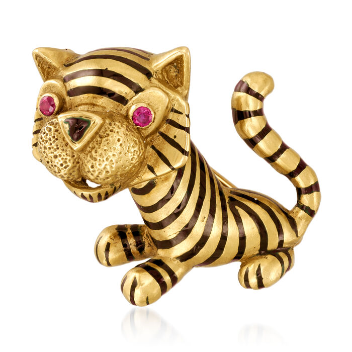C. 1970 Vintage Black Enamel and Ruby-Accented Tiger Pin in 18kt Yellow Gold
