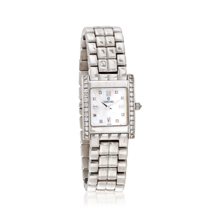 C. 2000 Vintage Concord Women's .62 ct. t.w. Diamond 20mm Watch in 14kt White Gold. Size 7, , default