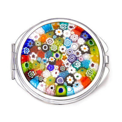 Murano Glass Millefiori Compact Mirror from Italy
