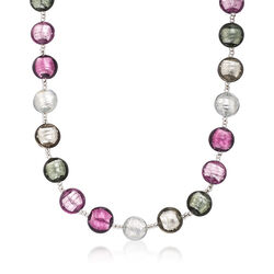 Italian Multicolored Murano Glass Bead Necklace, , default