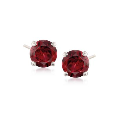 1.80 ct. t.w. Garnet Stud Earrings in 14kt White Gold
