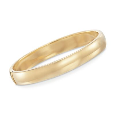 10mm 18kt Gold Over Sterling Silver Bangle Bracelet, , default