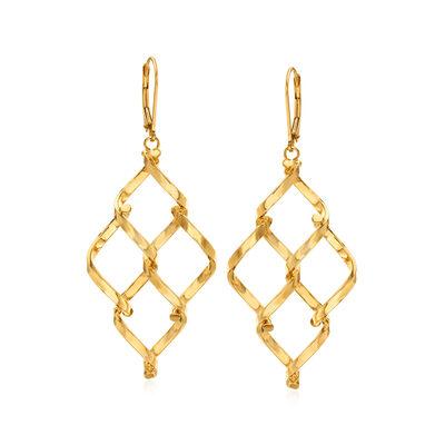 Italian 14kt Yellow Gold Multi-Twist Diamond-Shape Drop Earrings, , default