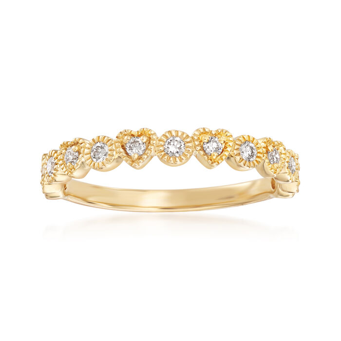 .25 ct. t.w. Diamond Heart and Circle Band in 14kt Yellow Gold
