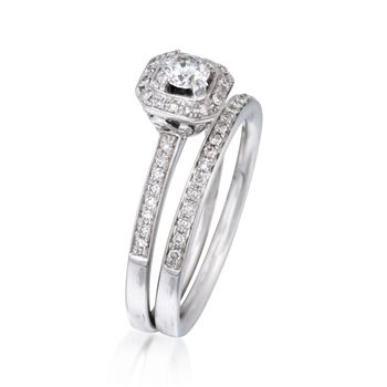 .45 ct. t.w. Diamond Bridal Set: Engagement and Wedding Rings in 14kt White Gold