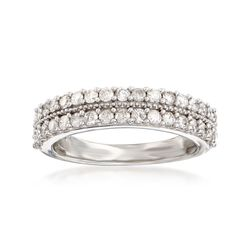 .75 ct. t.w. Diamond Two-Row Ring in Sterling Silver, , default
