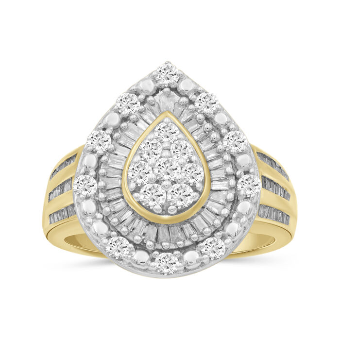 1.01 ct. t.w. Baguette and Round Diamond Teardrop Ring in 18kt Gold Over Sterling