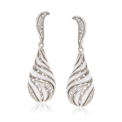 "Belle Etoile ""Waverly"" White Enamel and .50 ct. t.w. CZ Drop Earrings in Sterling Silver, , default"