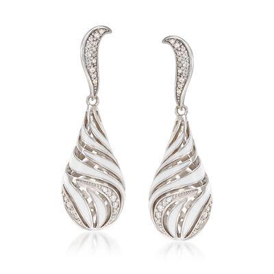 """Belle Etoile """"Waverly"""" White Enamel and .50 ct. t.w. CZ Drop Earrings in Sterling Silver, , default"""