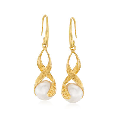 Italian 9.5-10mm Cultured Pearl Drop Earrings in 18kt Gold Over Sterling, , default