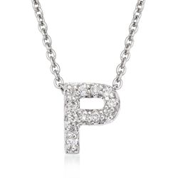 "Roberto Coin ""Tiny Treasures"" Diamond Accent Initial ""P"" Necklace in 18kt White Gold. 16"", , default"
