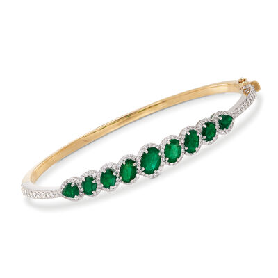3.30 ct. t.w. Emerald and 1.15 ct. t.w. Diamond Slim Bangle Bracelet in 18kt Two-Tone Gold, , default