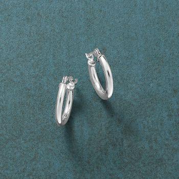"""1.5mm 14kt White Gold Small Hoop Earrings. 1/2"""""""