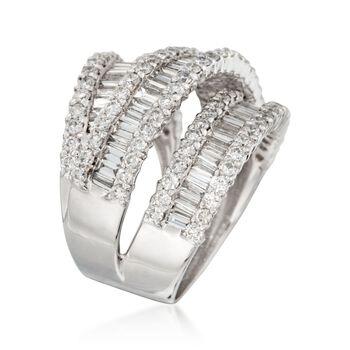 3.65 ct. t.w. Diamond Three-Row Crisscross Ring in 18kt White Gold, , default