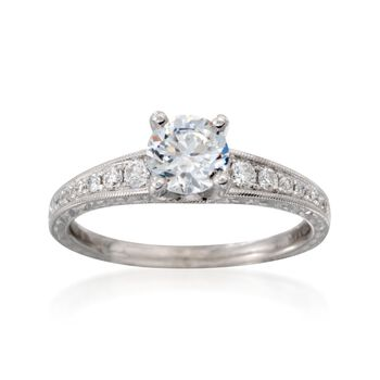 .22 ct. t.w. Engraved Diamond Engagement Ring Setting  in 14kt White Gold, , default