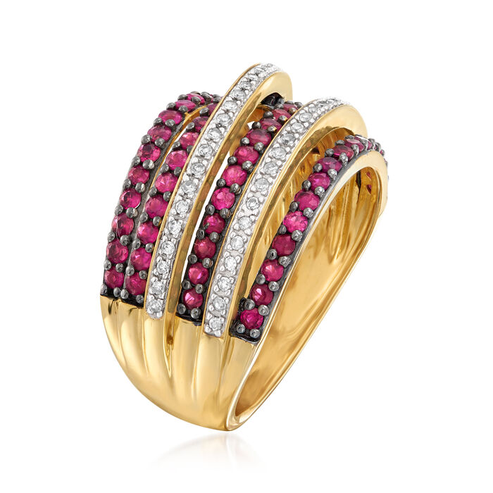 .90 ct. t.w. Ruby and .15 ct. t.w. Diamond Highway Ring in 18kt Gold Over Sterling