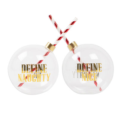 Set of 2 Naughty and Nice Ornament Drinking Glasses, , default