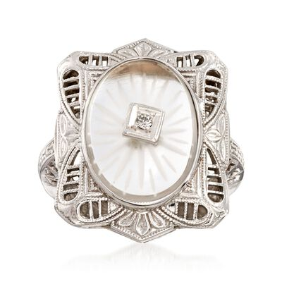 C. 1950 Vintage Rock Crystal Filigree Ring with Diamond Accents in 14kt White Gold, , default
