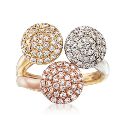 1.05 ct. t.w. Diamond Circle Ring in 14kt Tri-Colored Gold, , default