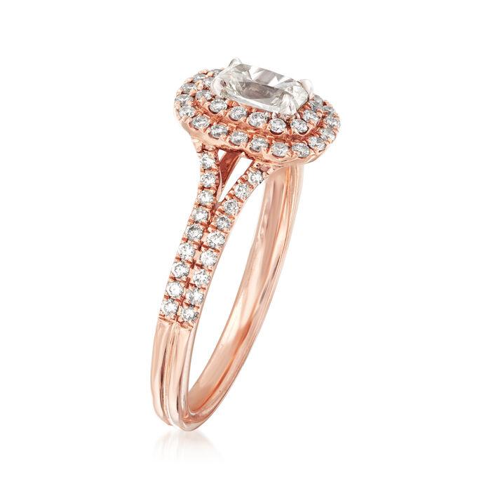 Henri Daussi .80 ct. t.w. Diamond Halo Engagement Ring in 14kt Rose Gold