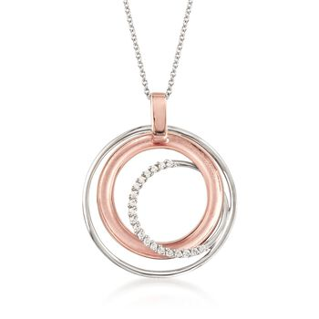 "Simon G. .12 ct. t.w. Diamond Multi-Circle Pendant Necklace in 18kt Two-Tone Gold. 17"", , default"