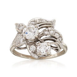 C. 1960 Vintage 1.45 ct. t.w. Diamond Floral Ring in 18kt White Gold. Size 7.5, , default