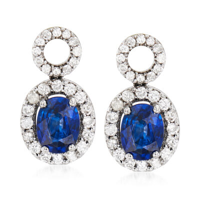 C. 1990 Vintage 1.84 ct. t.w. Sapphire and .58 ct. t.w. Diamond Drop Earrings in 18kt White Gold, , default