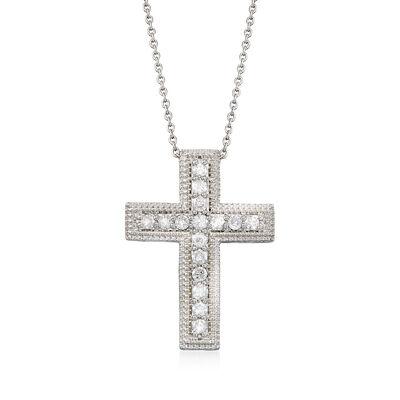 791253be2 t.w. Diamond Cross Pendant Necklace in Sterling Silver, , default .