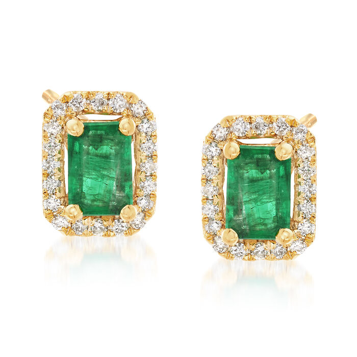 .90 ct. t.w. Emerald and .20 ct. t.w. Diamond Frame Earrings in 14kt Yellow Gold, , default