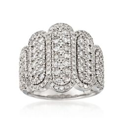 2.50 ct. t.w. Elongated Wavy Diamond Ring in 18kt White Gold, , default