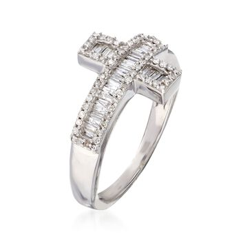 .33 ct. t.w. Diamond Sideways Cross Ring in Sterling Silver, , default